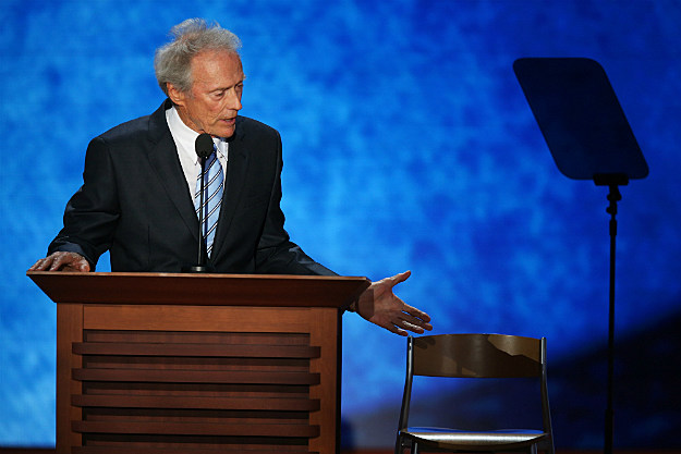 Clint Eastwood and his pal the chair, hoping his day will be made.