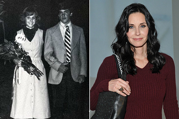Courteney Cox went with a casual prom dress and a giant corsage