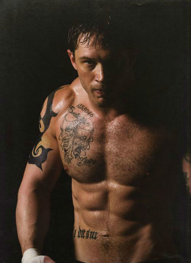 Tom Hardy shirtless with tattoos
