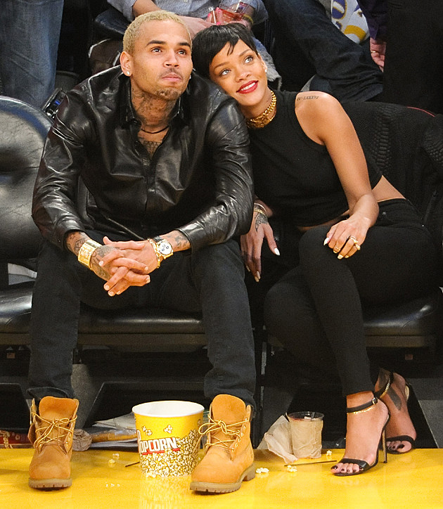 Chris Brown and Rihanna at the Lakers Game