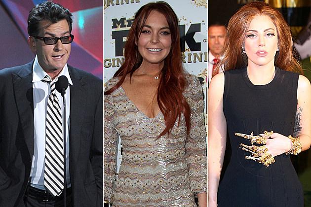 Charlie Sheen Lindsay Lohan Lady Gaga