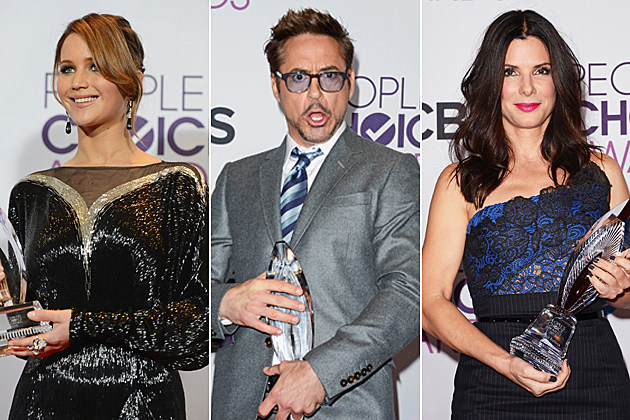 Jennifer Lawrence, Robert Downey Jr., Sandra Bullock at the 2013 People's Choice Awards