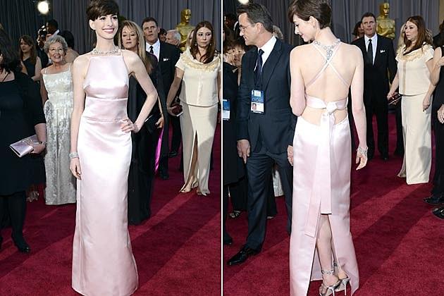 Anne Hathaway Pink Prada 2013 Oscars