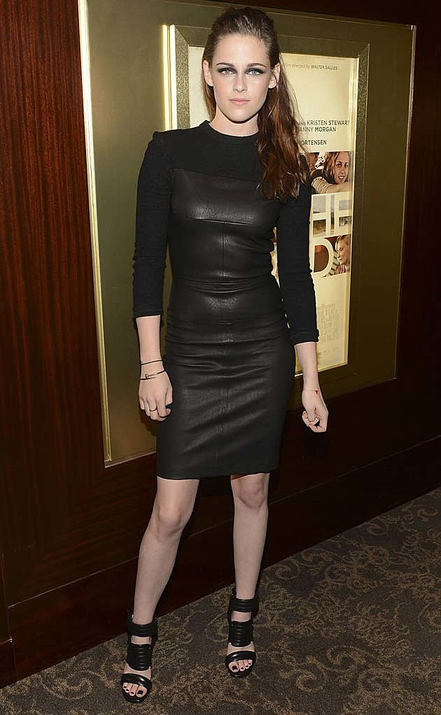 Kristen Stewart Black Leather ALC Dress