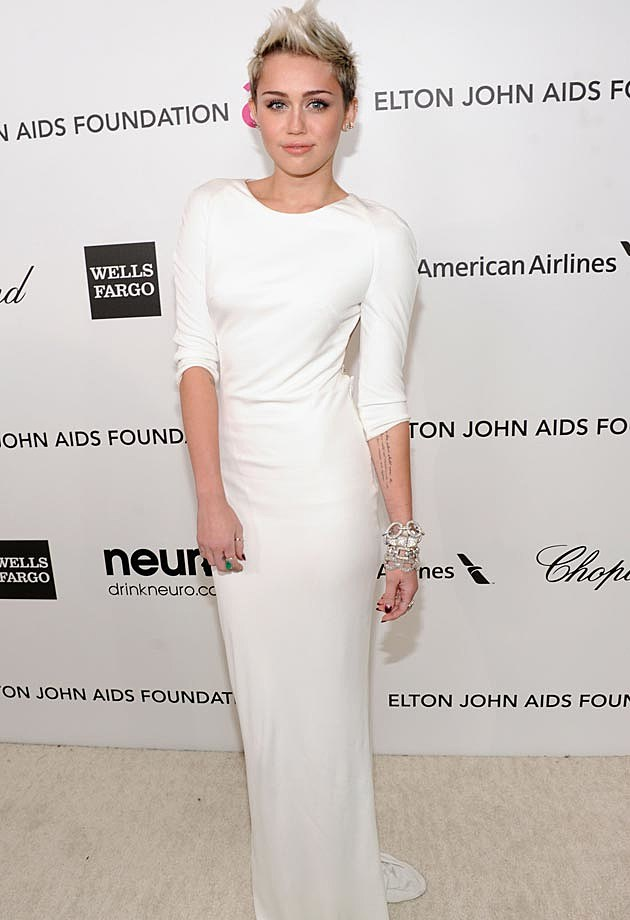 Miley Cyrus White Azzaro Elton John Oscar Party