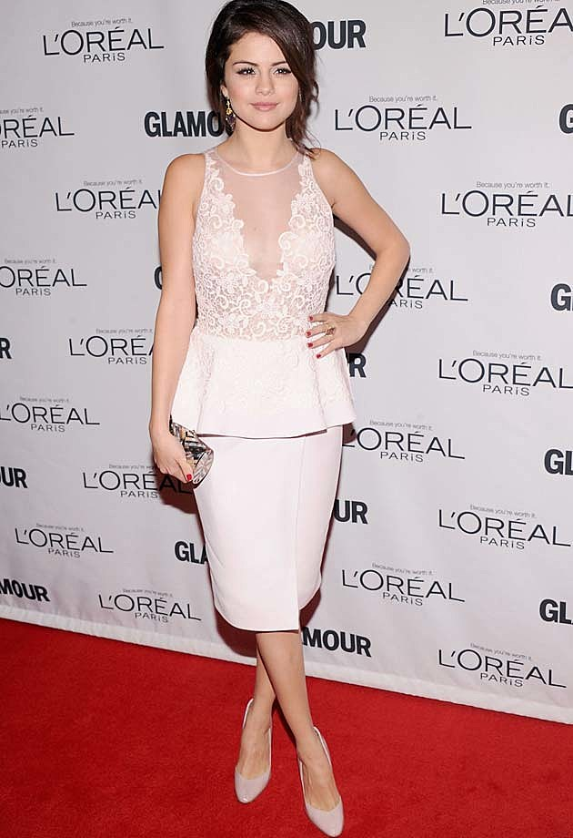 Selena Gomez Peplum Pink Giambattista Valli