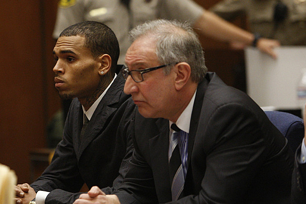 Chris Brown and Mark Geragos in Court