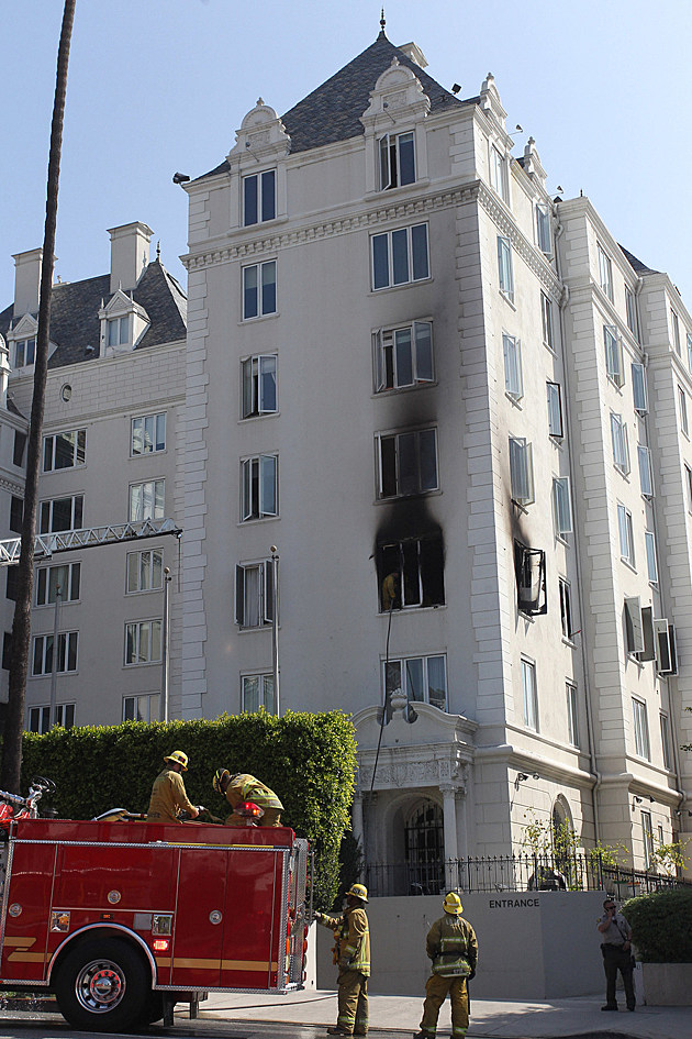 Exterior views of Ashley Greene's West Hollywood condo that went up in flames early Friday in Los Angeles