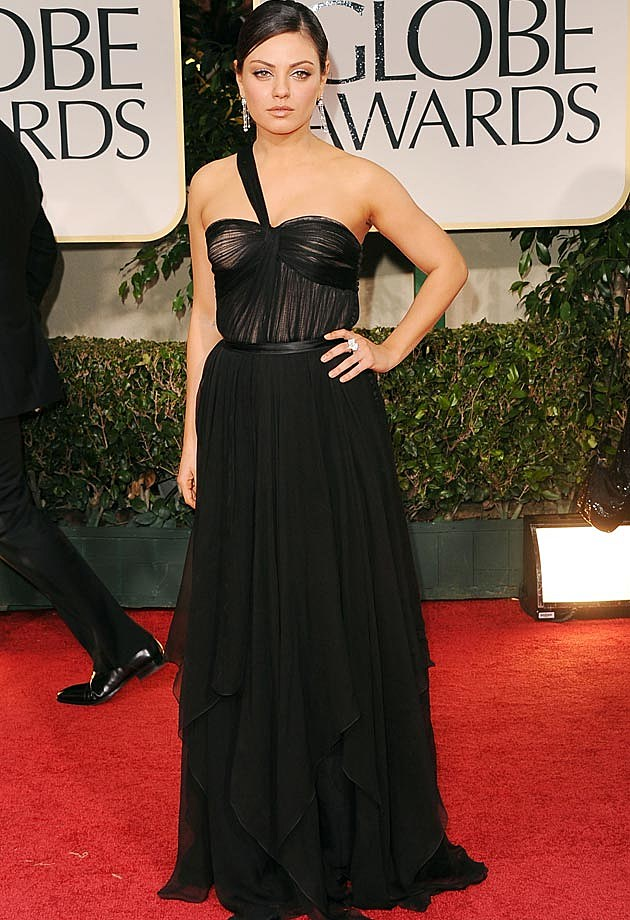 Mila Kunis Dior One Shoulder Black Golden Globes