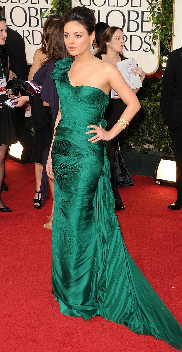 Mila Kunis Green Golden Globes Vera Wang