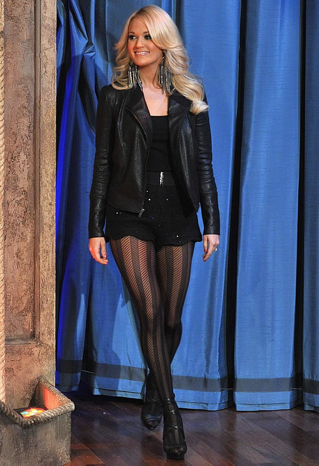 Carrie Underwood Leather Eisenhower Herringbone Tights