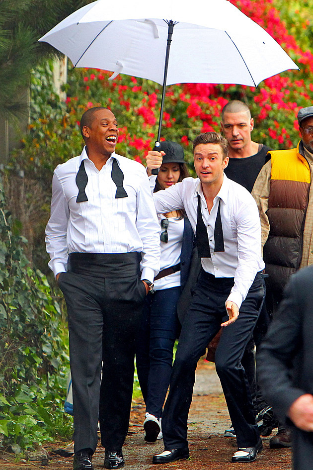 Justin Timberlake and Jay-Z goof around on the set of the new music video for 'Suit & Tie' in Los Angeles