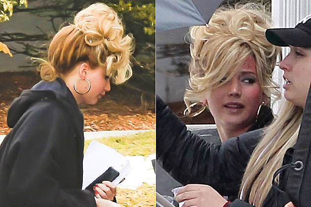 Jennifer Lawrence shows off a big retro hairstyle on the set of the 'Untitled David O. Russell/Abscam Project' in Boston