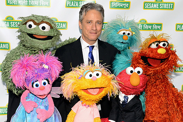 Jon Stewart with the Muppets