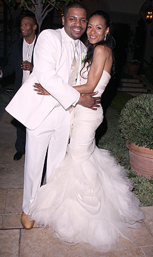 Mekhi Phifer with new wife Reshelet Barnes in the garden of the Montage Hotel in Beverly Hills after getting married