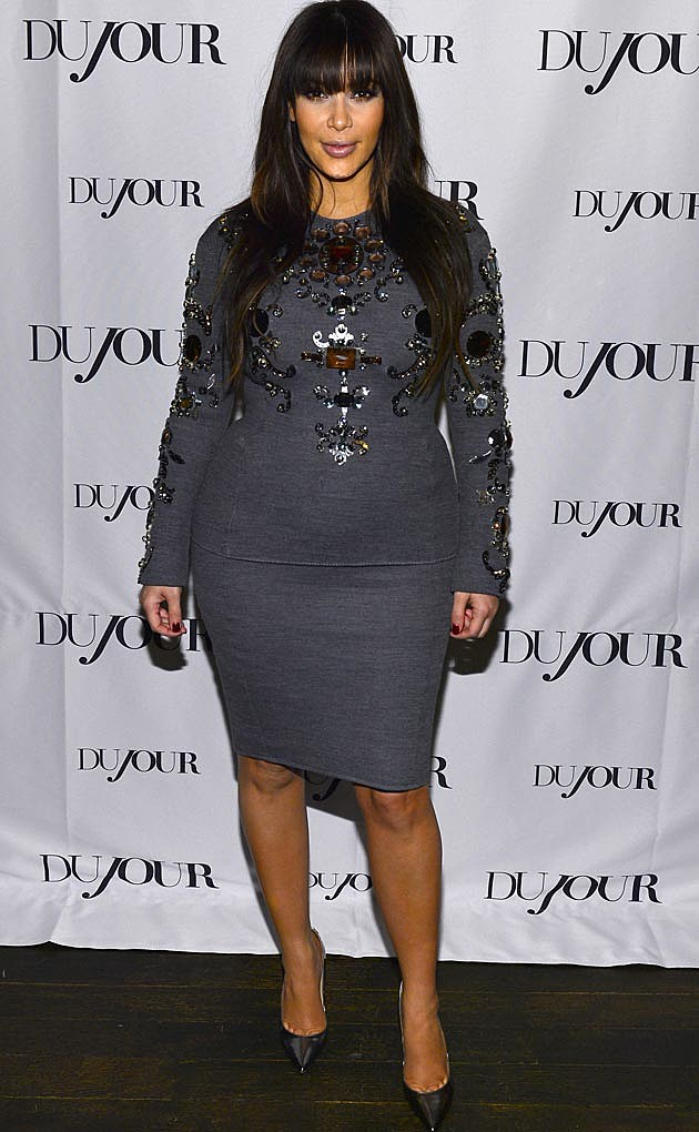 Kim Kardashian Gray Pregnancy Dress