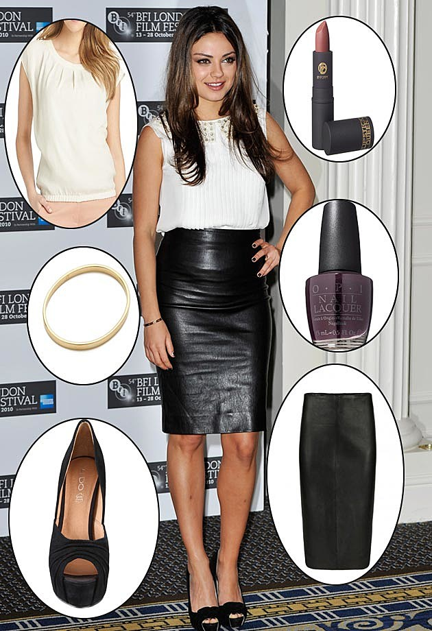 Mila Kunis Get the Look Leather Skirt