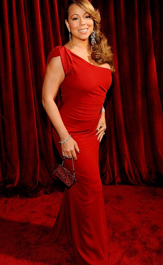 Mariah Carey Red One Shoulder