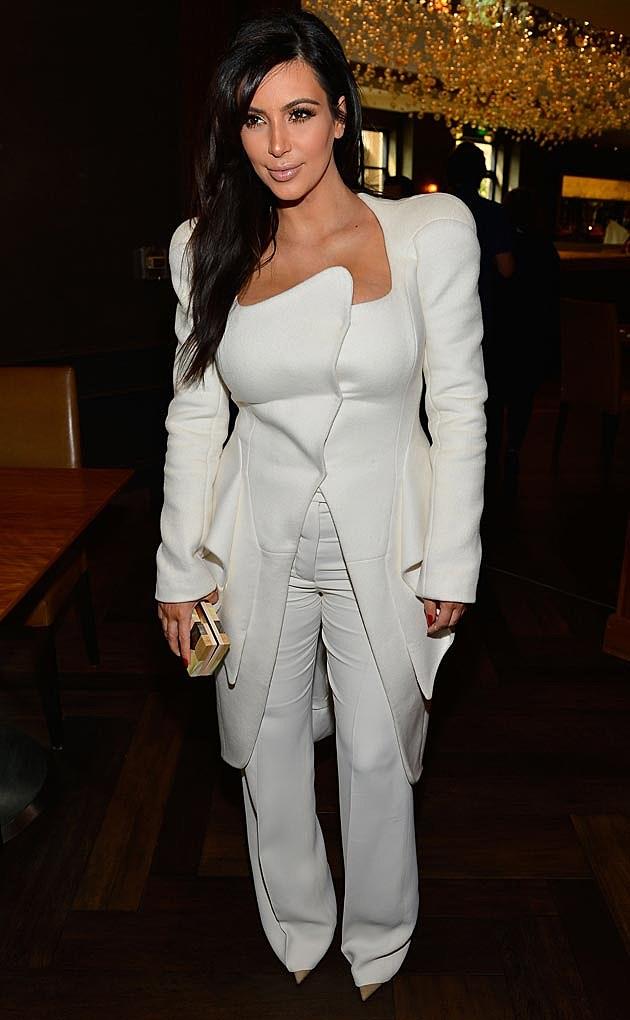 Kim Kardashian White Pantsuit