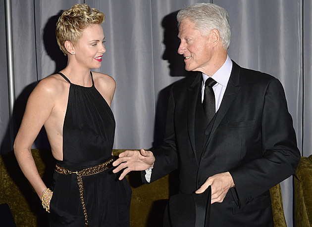 Charlize Theron with Bill Clinton at the GLAAD Awards