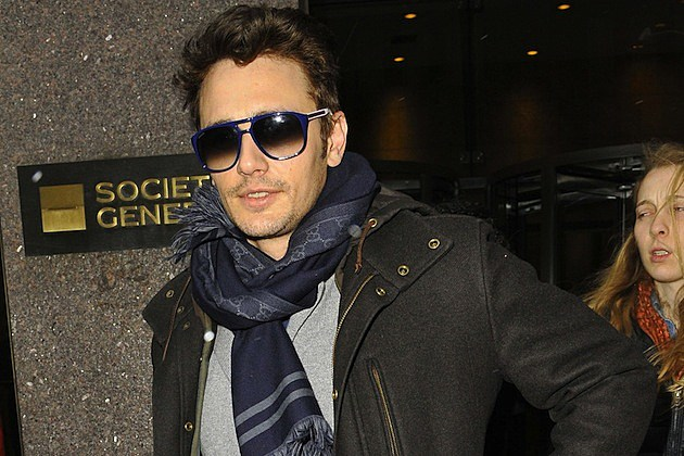James Franco greets fans as he heads out of Sirius Radio Station in New York City