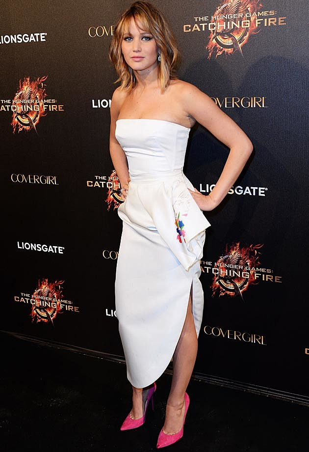 Jennifer Lawrence Dior Manolo Catching Fire Party Cannes
