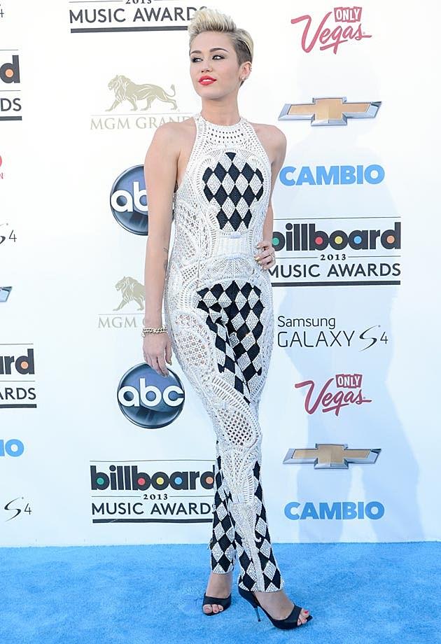Miley Cyrus Balmain Jumpsuit B+W