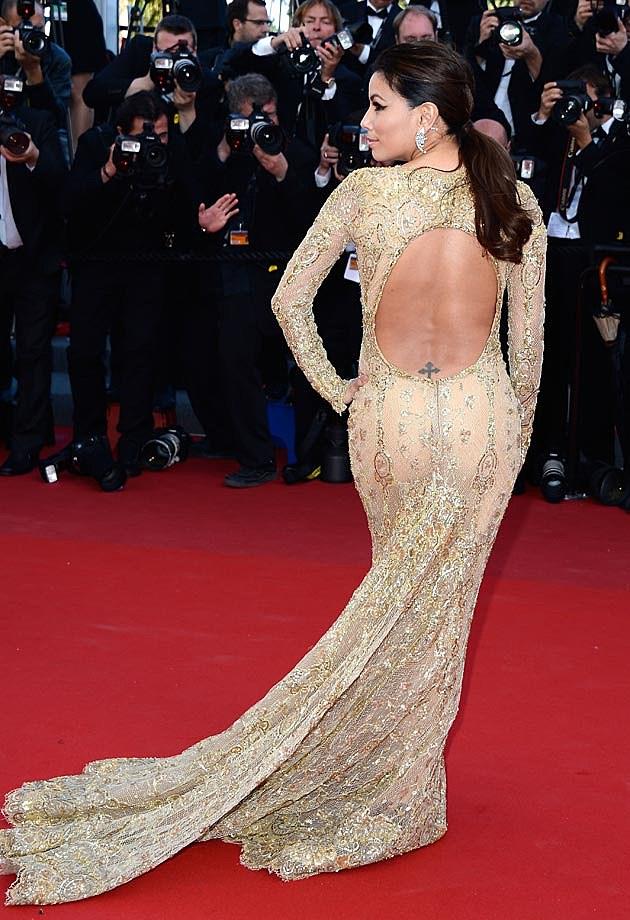 Eva Longoria Back Zuhair Murad Cannes Gold