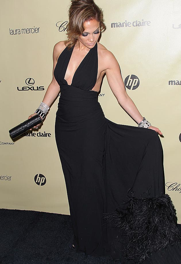 Jennifer Lopez Black Gown Feathers