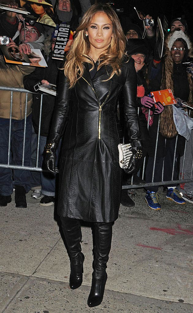 Jennifer Lopez Head to Toe Black Leather