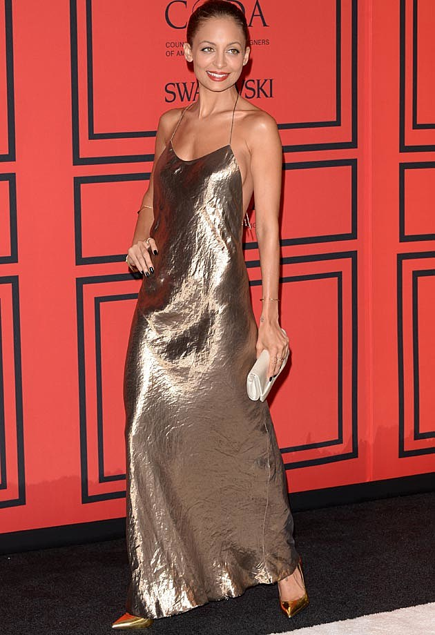 Nicole Richie Gold Lame Marc Jacobs CFDAs