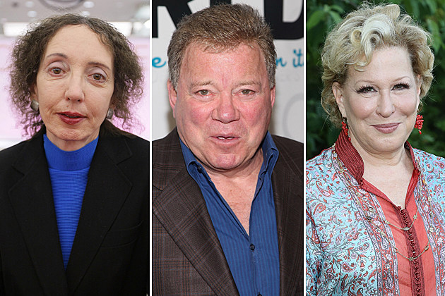 Joyce Carol Oates, William Shatner, Bette Midler