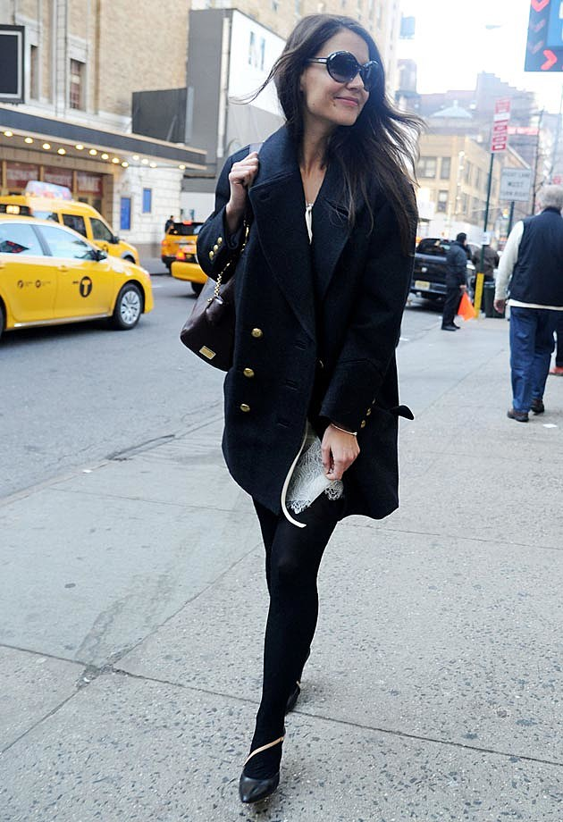 Katie Holmes All Black Winter NYC