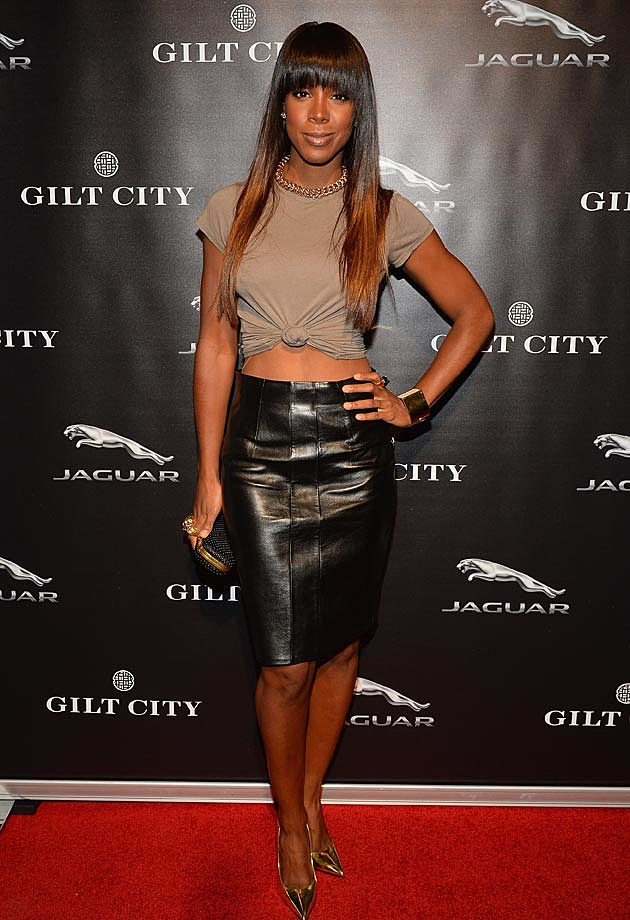 Kelly Rowland Leather Skirt