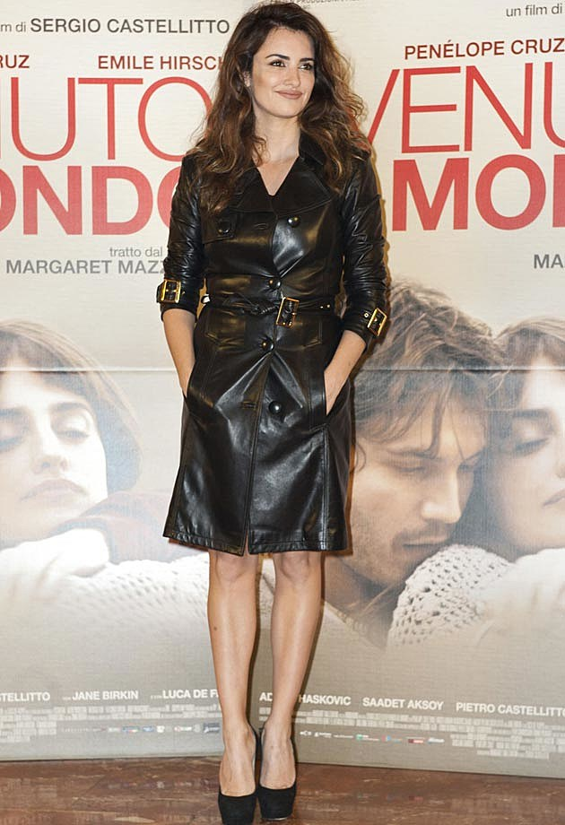 Penelope Cruz Black Leather Trench