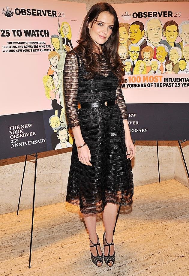 Katie Holmes Black Mesh Dolce & Gabbana