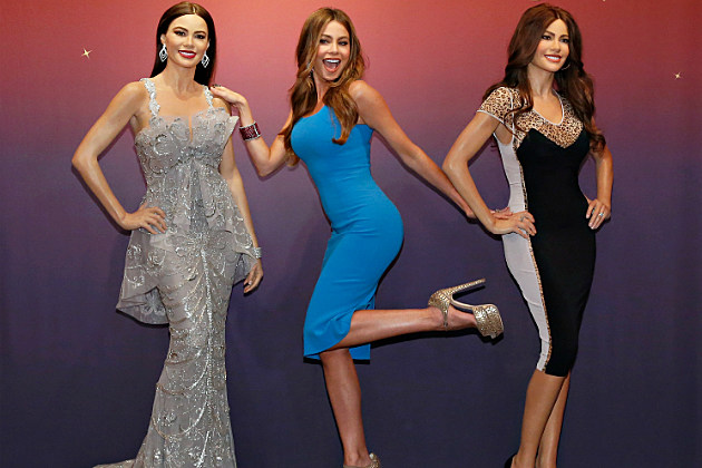 Sofia Vergara is her usual adorable self while posing with her wax figures.