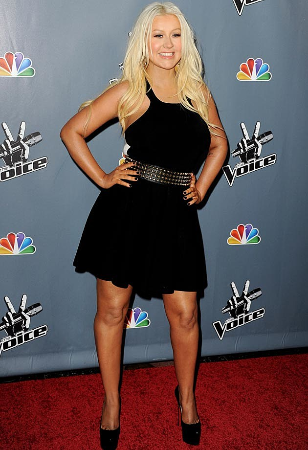 Christina Aguilera Belted Black Dress