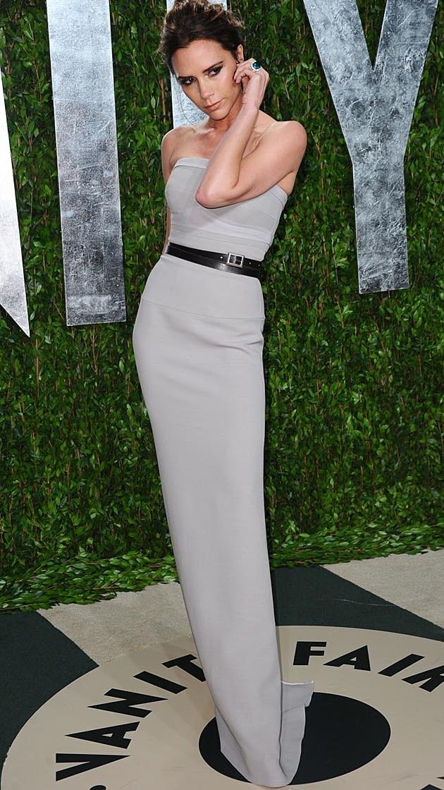 Victoria Beckham Belted Grey Column