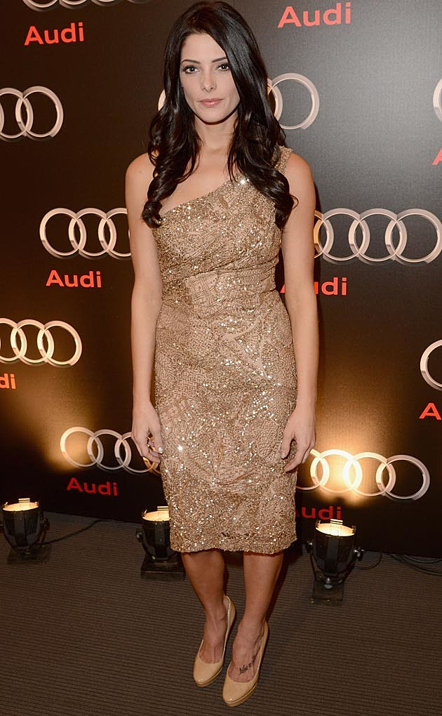 Ashley Greene Gold Monique Lhuillier