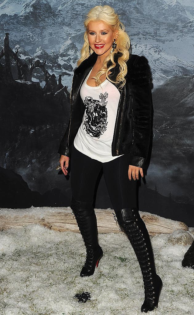 Christina Aguilera Leather Leggings