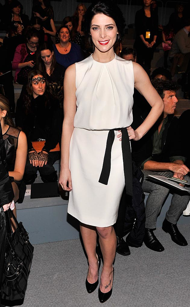 Ashley Greene White Dress Black Sash