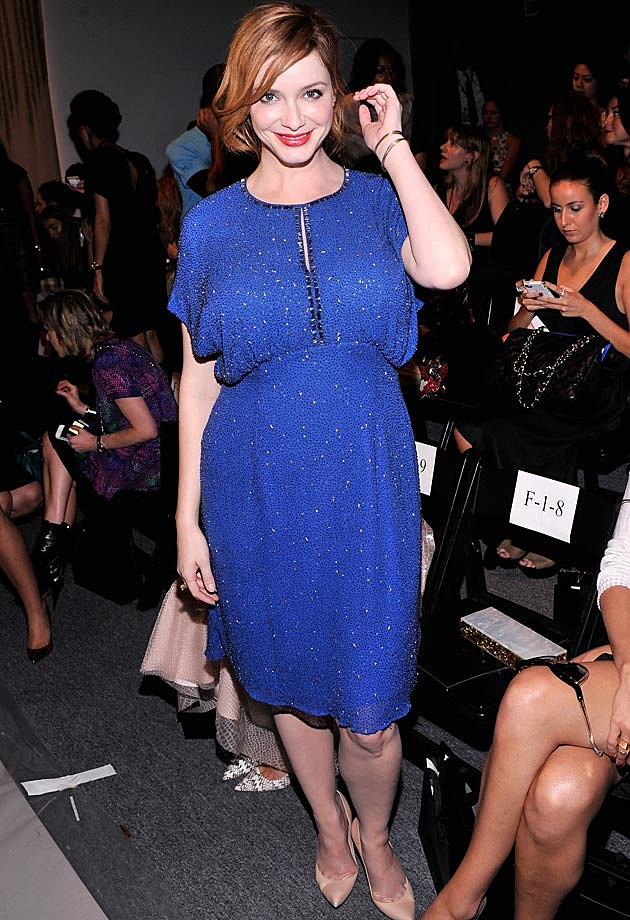 Christina Hendircks Blue Dress