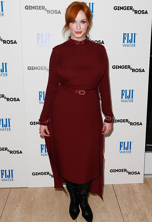 Christina Hendricks Maroon Dress
