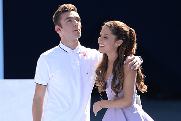 NEW YORK, NY - AUGUST 24: Nathan Sykes of The Wanted and Ariana Grande perform at the 2013 Arthur Ashe Kids Day at USTA Billie Jean King National Tennis Center on August 24, 2013 in the Queens borough of New York City. (Photo by Uri Schanker/Getty Images)